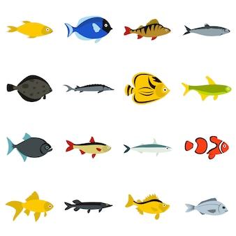 Set di icone di pesce