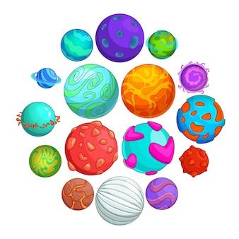 Set di icone di pianeti fantastici, stile cartoon