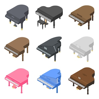 Set di icone di pianoforte a coda, stile isometrico