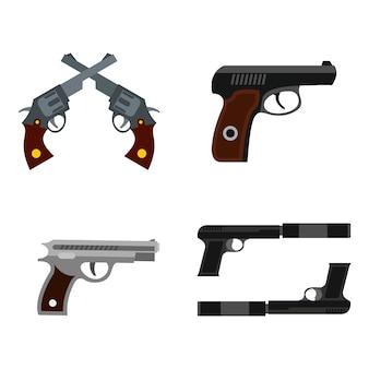 Set di icone di pistola. insieme piano della raccolta delle icone di vettore della pistola isolata