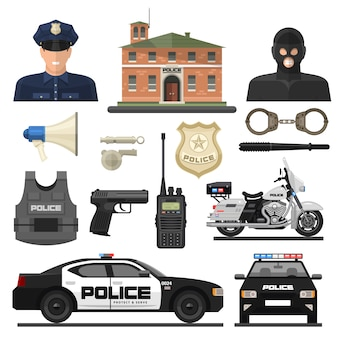 Set di icone di polizia piatta
