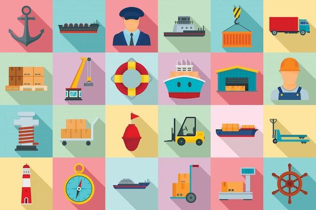 Set di icone di porto marittimo, stile piano