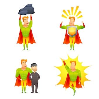 Set di icone di potere del personaggio dei cartoni animati del supereroe