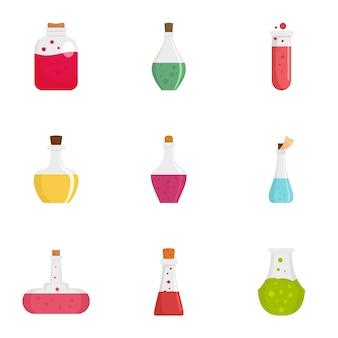 Set di icone di pozione alchemica, stile piano