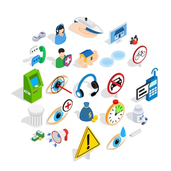 Set di icone di preoccupazione, stile isometrico