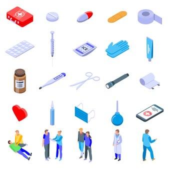 Set di icone di primo soccorso medico, stile isometrico