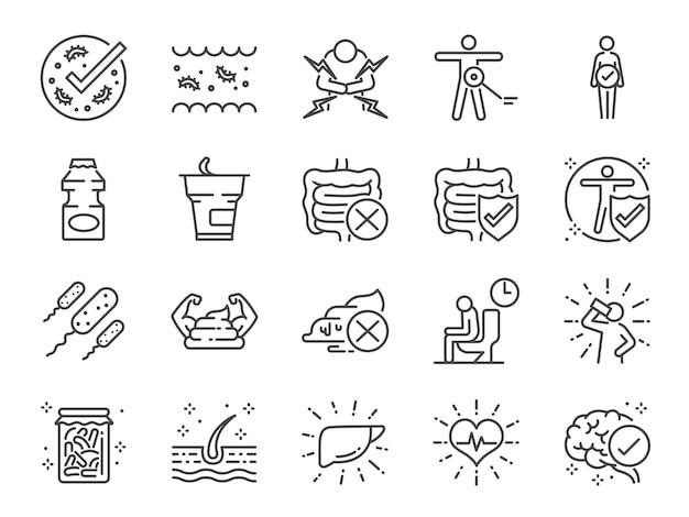 Set di icone di probiotici.