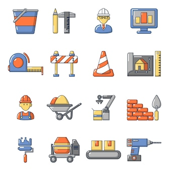 Set di icone di processo di costruzione