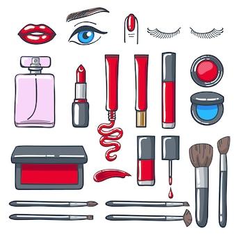 Set di icone di prodotti cosmetici make-up.