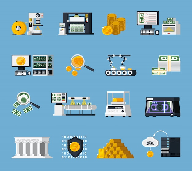 Set di icone di produzione di denaro
