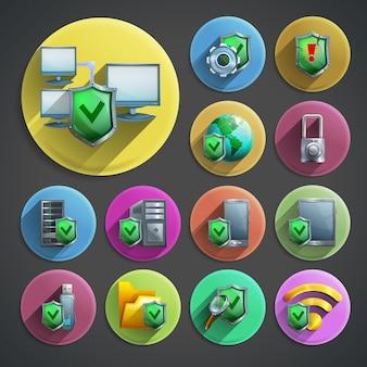 Set di icone di protezione dei dati