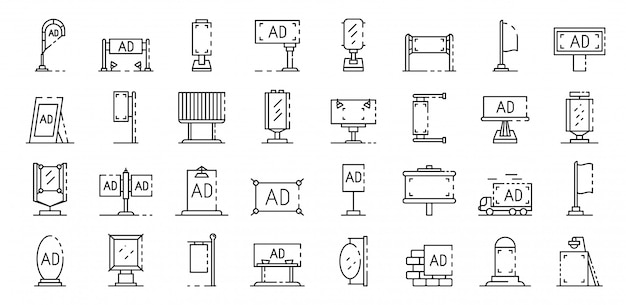 Set di icone di pubblicità esterna. insieme del profilo delle icone di vettore di pubblicità esterna