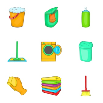 Set di icone di pulizia, stile cartoon