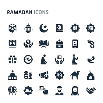 Set di icone di ramadan. fillio black icon series.