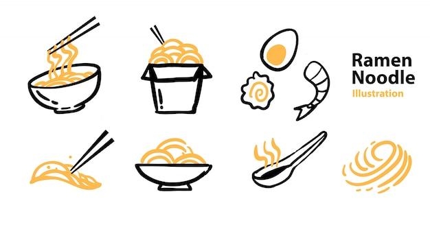 Set di icone di ramen per mascotte
