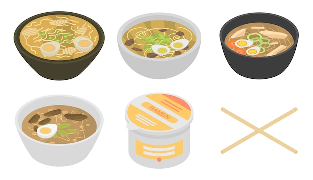Set di icone di ramen, stile isometrico