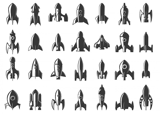 Set di icone di razzi su sfondo bianco. avviare. elemento per, etichetta, emblema, segno. illustrazione.