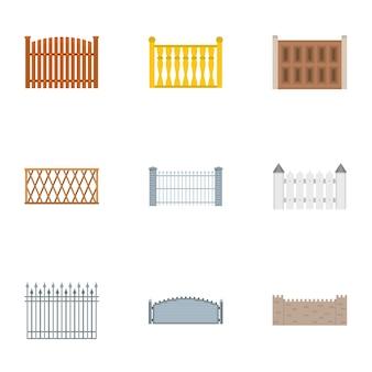 Set di icone di recinzione, stile piano