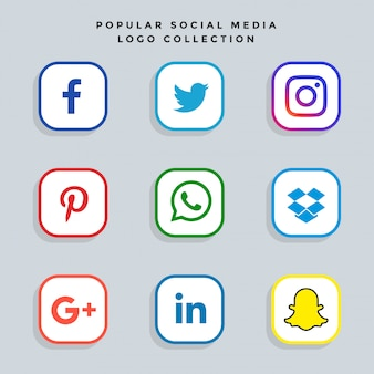 Set di icone di rete moderna social media