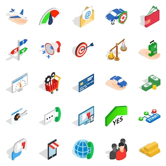 Set di icone di retribuzione aziendale, stile isometrico