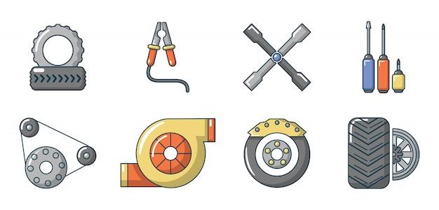 Set di icone di ricambi auto. l'insieme del fumetto delle icone di vettore delle parti dell'automobile ha messo isolato