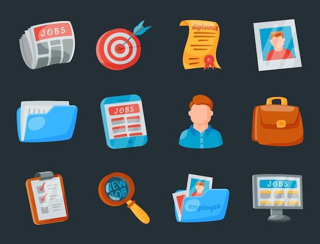 Set di icone di ricerca di lavoro