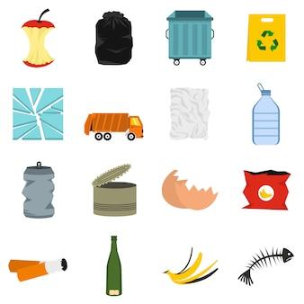 Set di icone di rifiuti e immondizia