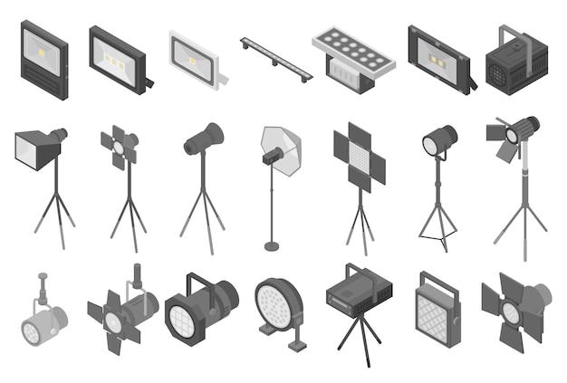 Set di icone di riflettori, stile isometrico