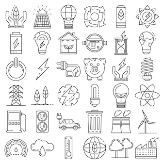 Set di icone di risparmio energetico. insieme del profilo delle icone di vettore di risparmio energetico