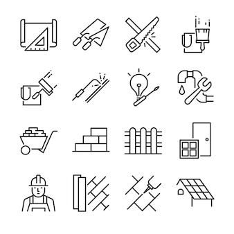 Set di icone di ristrutturazione casa.