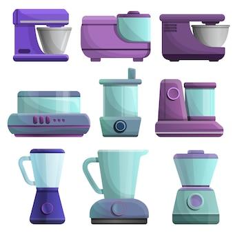 Set di icone di robot da cucina, stile cartoon
