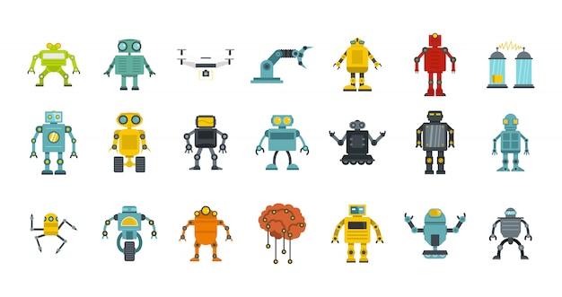 Set di icone di robot. insieme piano della raccolta delle icone di vettore del robot isolato