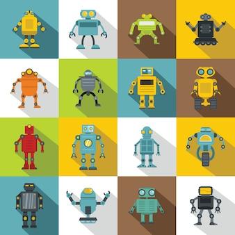 Set di icone di robot, stile piatto
