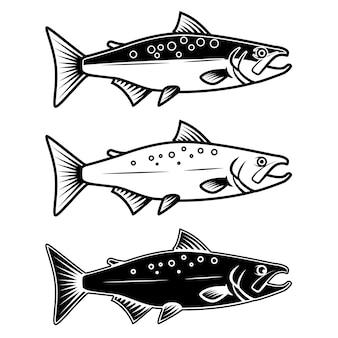 Set di icone di salmone su sfondo bianco. elemento per logo, etichetta, emblema, segno. illustrazione