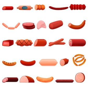 Set di icone di salsiccia, stile cartoon