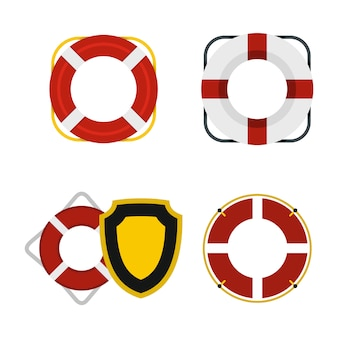 Set di icone di salvagente. insieme piano della raccolta delle icone di vettore di salvagente isolata