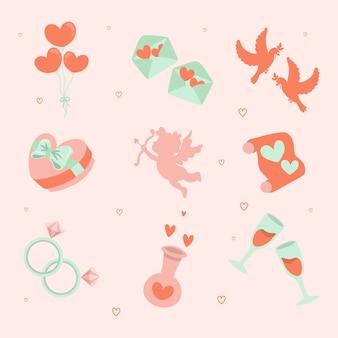 Set di icone di san valentino disegnati a mano