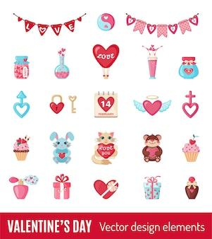 Set di icone di san valentino in stile piano.