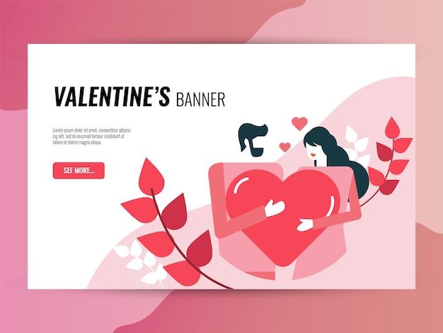 Set di icone di san valentino. stile icone riempito e contorno.