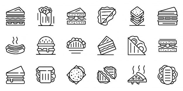 Set di icone di sandwich bar