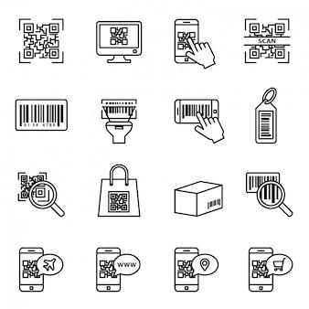 Set di icone di scansione codice a barre e qr. esame del prodotto del computer utilizzando uno scanner, informazioni sui prezzi.
