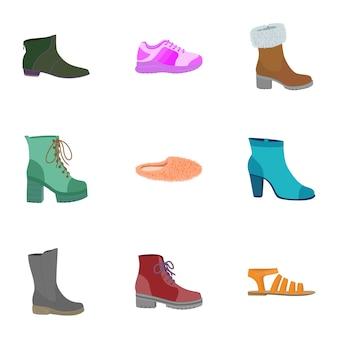 Set di icone di scarpe di moda. set piatto di 9 icone di scarpe di moda