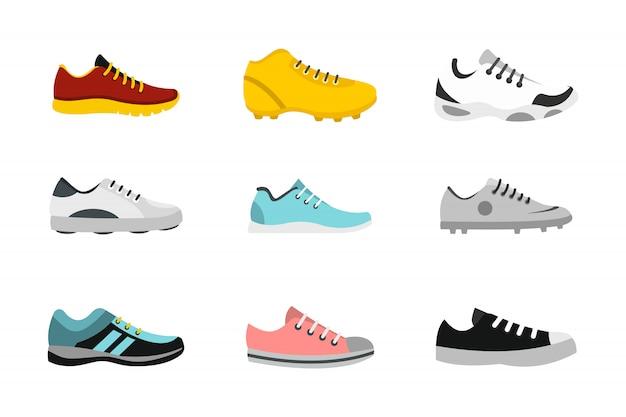 Set di icone di scarpe sportive. insieme piano della raccolta delle icone di vettore delle scarpe di sport isolata