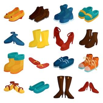 Set di icone di scarpe. un'illustrazione del fumetto di 16 icone delle scarpe per il web