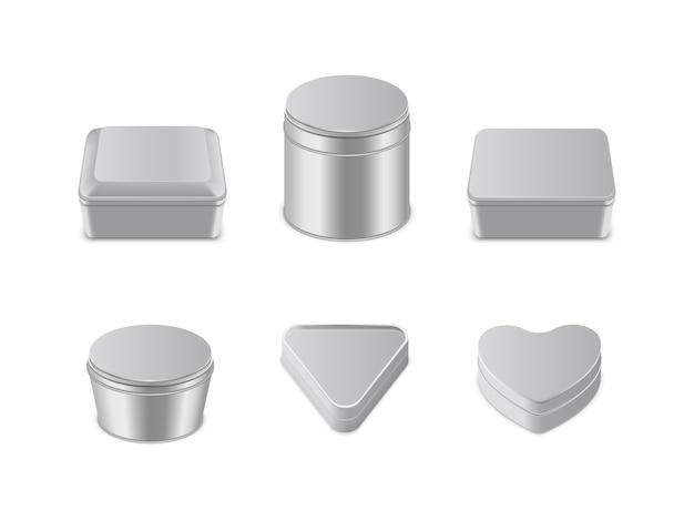 Set di icone di scatola di metallo