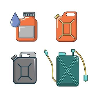Set di icone di scatola metallica. l'insieme del fumetto delle icone di vettore della scatola metallica ha messo isolato