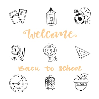 Set di icone di schizzo di doodle per l'istruzione scolastica. collezione di icone vettoriali disegnate a mano. bentornato a scuola
