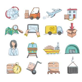 Set di icone di schizzo di logistica