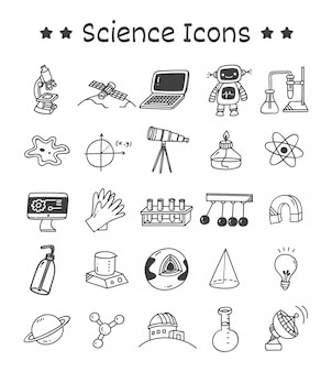 Set di icone di scienza in stile doodle