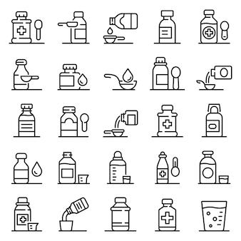 Set di icone di sciroppo per la tosse, struttura di stile